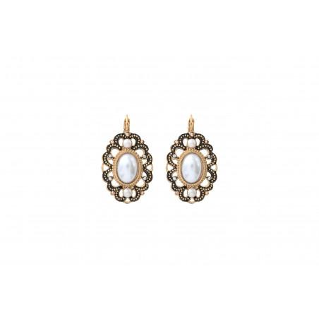 Boucles d'oreilles dormeuses élégantes émail et cristaux Prestige I blanc