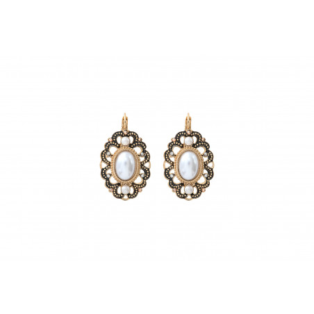 Elegant enamel and Prestige crystal sleeper earrings   black