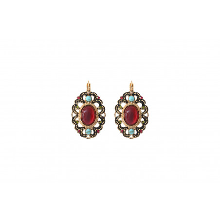 Boucles d'oreilles dormeuses précieuses émail et cristaux Prestige I rouge