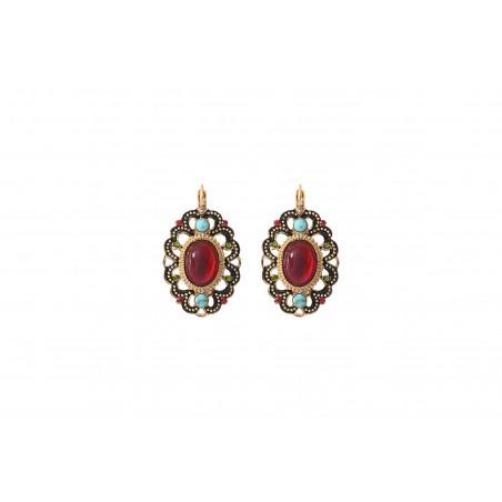 Precious enamel and Prestige crystal sleeper earrings   red