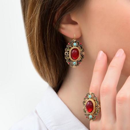 Boucles d'oreilles dormeuses précieuses émail et cristaux Prestige I rouge85980