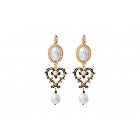 Boucles d'oreilles dormeuses romantiques perles de rivière I blanc