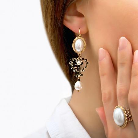 Boucles d'oreilles dormeuses romantiques perles de rivière I blanc85982