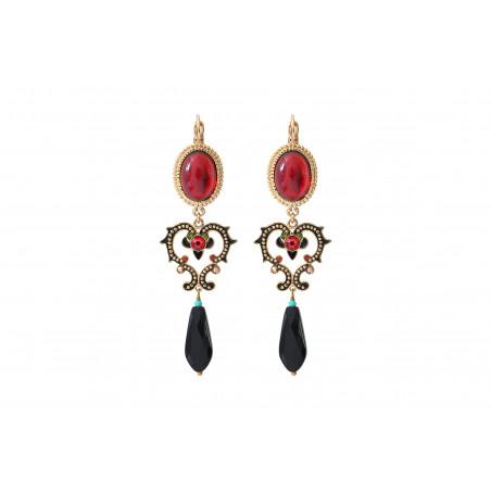 Sparkling onyx sleeper earrings  red