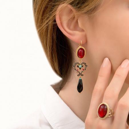 Boucles d'oreilles dormeuses étincelantes onyx I rouge85984