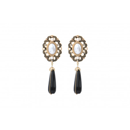 Boucles d'oreilles clips intemporelles onyx et perles nacrées I noir