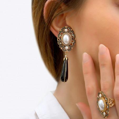 Boucles d'oreilles clips intemporelles onyx et perles nacrées I noir 85990