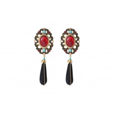 Boucles d'oreilles clips festives onyx et turquoise I rouge