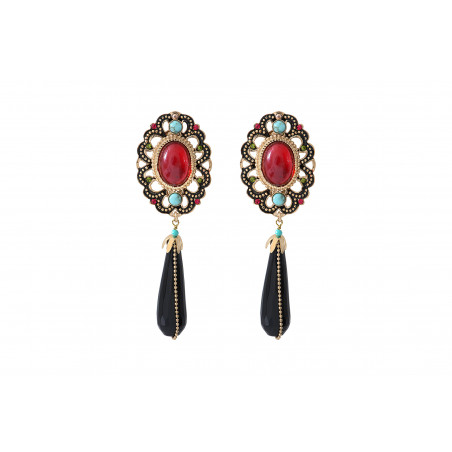 Festive onyx and turquoise clip-on earrings| red