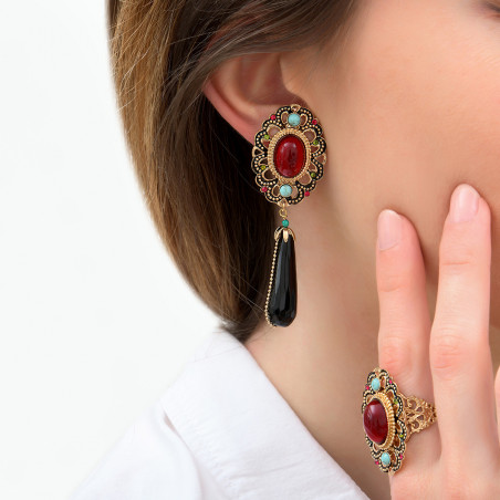 Festive onyx and turquoise clip-on earrings| red85992