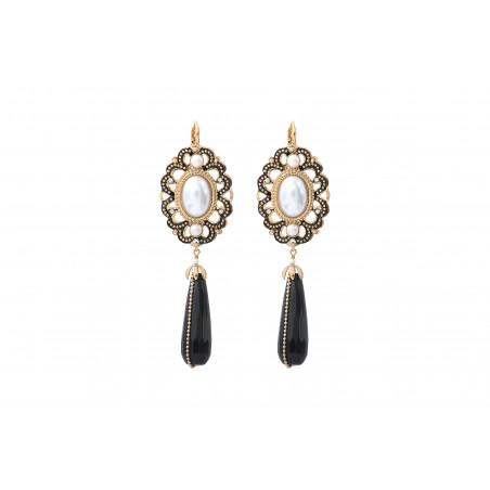 Boucles d'oreilles dormeuses intemporelles onyx et perles nacrées I noir