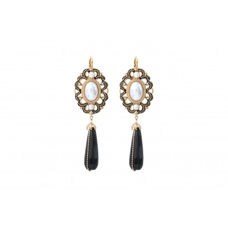 Timeless onyx and mother-of-pearl bead sleeper earrings   black