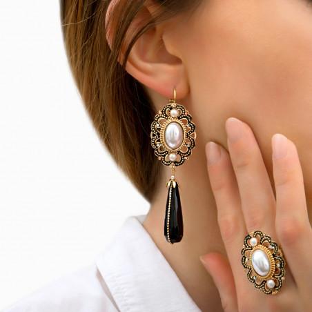 Boucles d'oreilles dormeuses intemporelles onyx et perles nacrées I noir 85994