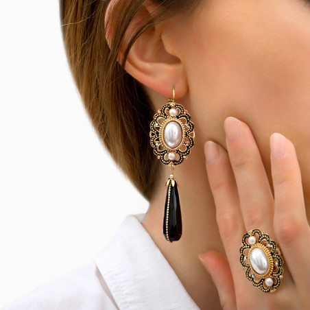Timeless onyx and mother-of-pearl bead sleeper earrings   black 85994