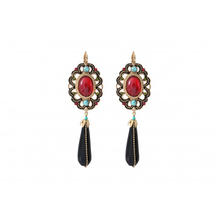 Boucles d'oreilles dormeuses festives onyx et turquoise I rouge