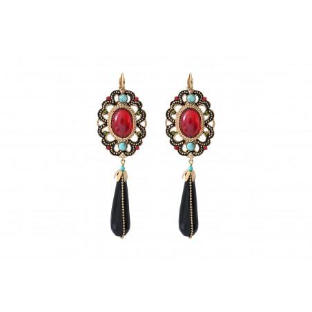 Festive onyx and turquoise sleeper earrings| red