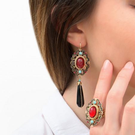 Festive onyx and turquoise sleeper earrings| red85996