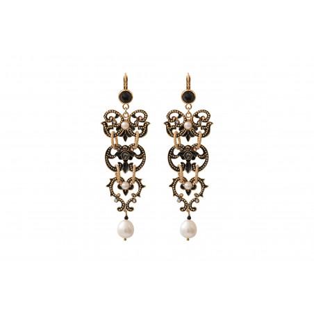 Chic freshwater pearls and Prestige crystal sleeper earrings   black