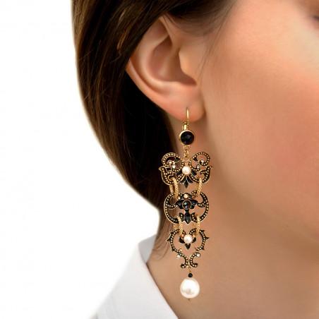 Boucles d'oreilles dormeuses chics perles de rivière cristaux Prestige I noir85998