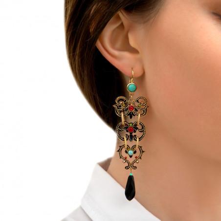 Boucles d'oreilles dormeuses graphiques onyx et cristaux Prestige I rouge86000