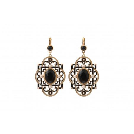 Poetic onyx and Prestige crystal sleeper earrings | black