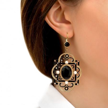 Boucles d'oreilles dormeuses poétiques onyx et cristaux Prestige I noir86002
