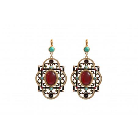 Boucles d'oreilles dormeuses festives amazonite et cristaux Prestige I turquoise