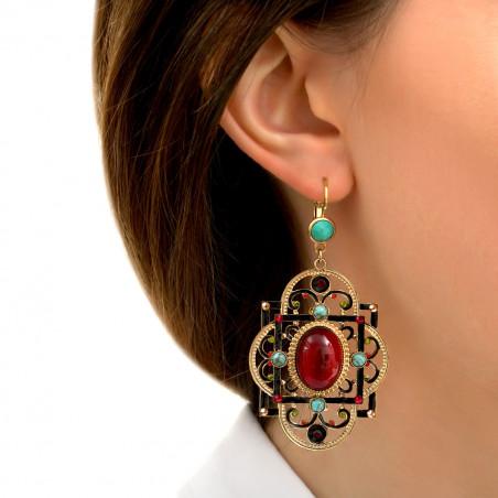 Boucles d'oreilles dormeuses festives amazonite et cristaux Prestige I turquoise86004