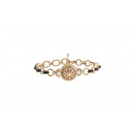 Bracelet chaîne intemporel émail et cristaux Prestige I noir