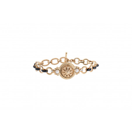 Timeless enamel and Prestige crystal chain bracelet   black
