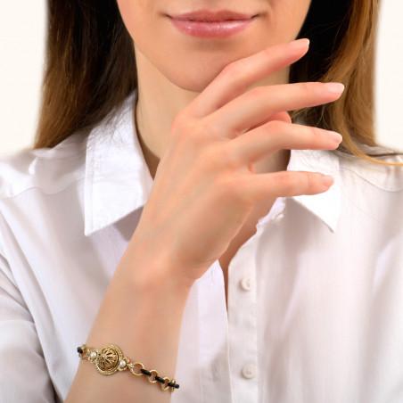 Bracelet chaîne intemporel émail et cristaux Prestige I noir 86006
