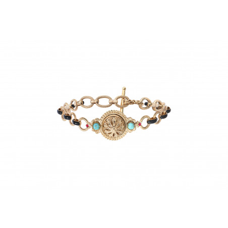 Bracelet chaîne baroque émail et cristaux Prestige I turquoise