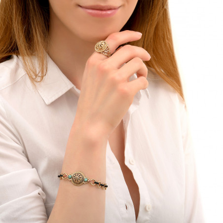 Baroque enamel and Prestige crystal chain bracelet   turquoise 86009
