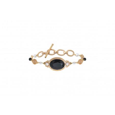 Bracelet chaîne glamour perles de rivières et onyx I noir