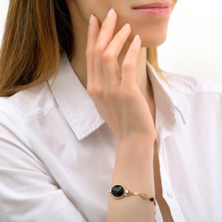 Bracelet chaîne glamour perles de rivières et onyx I noir86012
