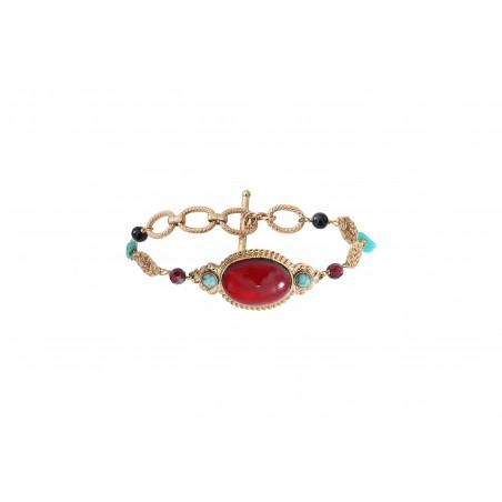 Bracelet chaîne festif turquoise grenat et onyx I rouge