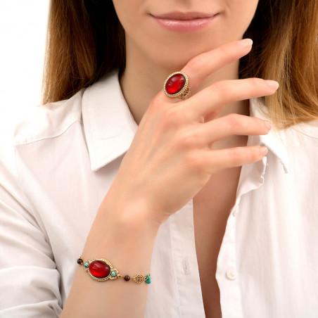 Bracelet chaîne festif turquoise grenat et onyx I rouge86015