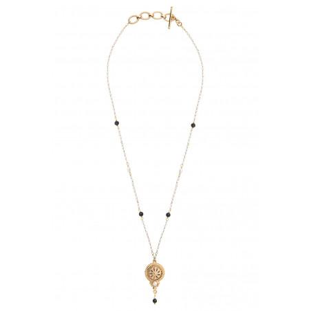 Collier pendentif sophistiqué perles de rivière et onyx I blanc