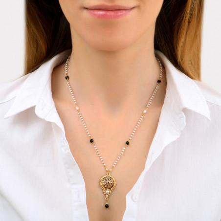 Collier pendentif sophistiqué perles de rivière et onyx I blanc86030