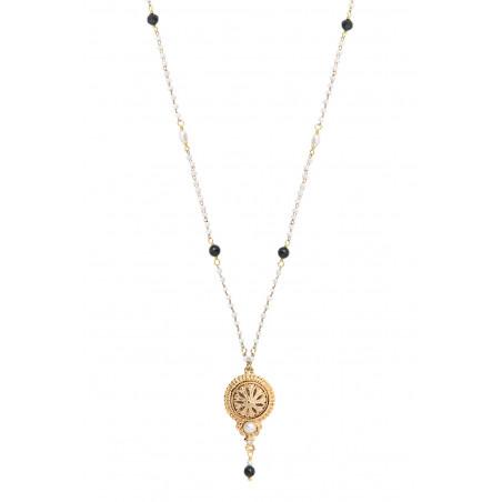 Collier pendentif sophistiqué perles de rivière et onyx I blanc86031