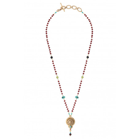 Beautiful garnet turquoise and onyx pendant necklace | red