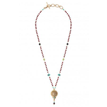 Collier pendentif fantaisie grenat turquoise et onyx I rouge