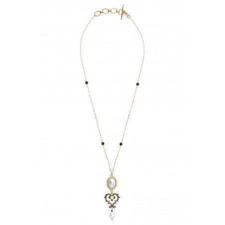 Collier pendentif raffiné perles de rivière et onyx I blanc