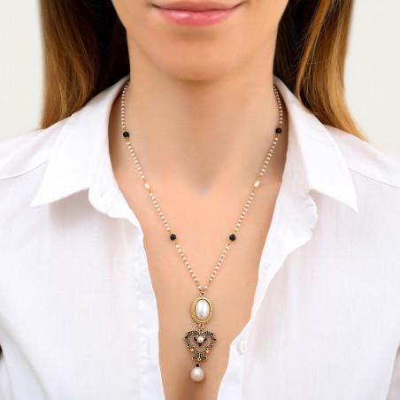 Collier pendentif raffiné perles de rivière et onyx I blanc86036
