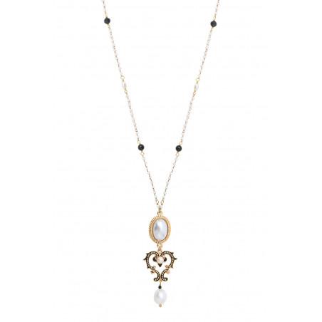 Collier pendentif raffiné perles de rivière et onyx I blanc86037