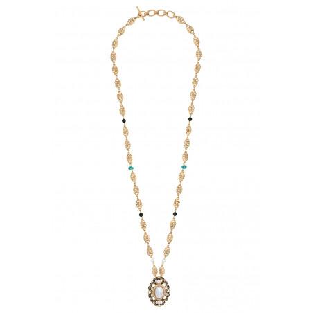 Glamorous freshwater pearl and onyx pendant necklace I white