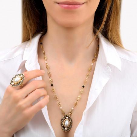 Glamorous freshwater pearl and onyx pendant necklace I white86048