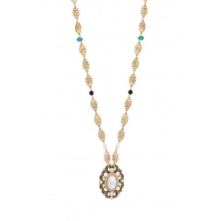 Glamorous freshwater pearl and onyx pendant necklace I white86049