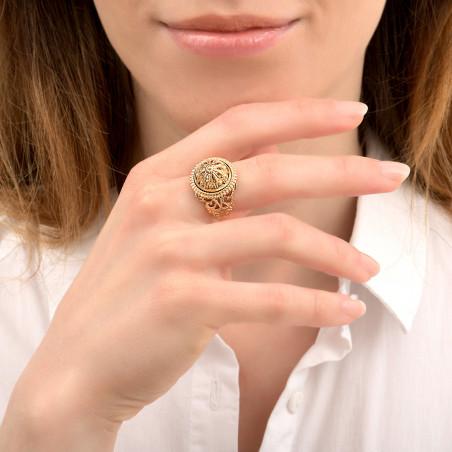 Bague ajustable romantique métal doré à l'or fin I doré86062