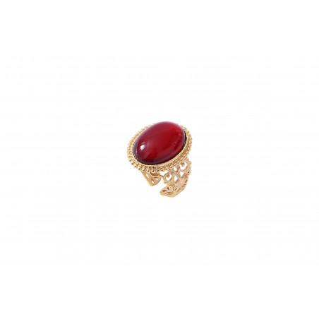Bague ajustable glamour cabochon et métal doré à l'or fin I rouge